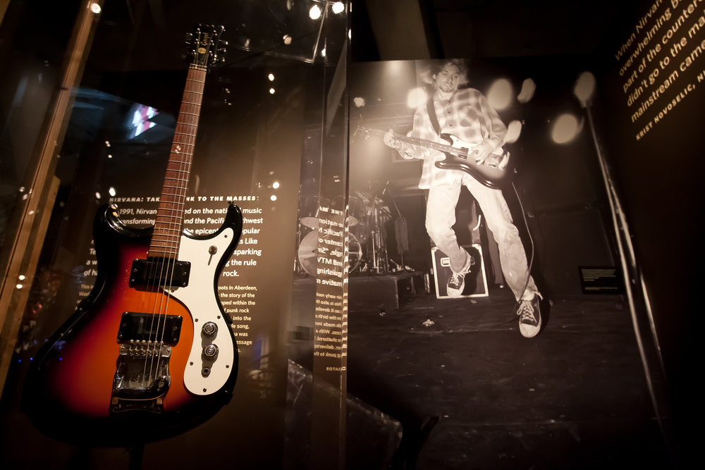 One of Kurt Cobain's guitars in the Nirvana exhibit at the EMP Museum at Seattle Center in Seattle, Washington. (Jessie Hodge/Creative Commons)