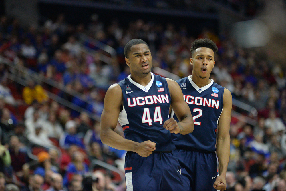 Rodney Purvis (44) and Jalen Adams (2) look on during UConn's 73-61 loss to Kansas in the second round of the NCAA tournament at the Wells Fargo Arena in Des Moines, Iowa on Saturday March 19, 2016. (Ashley Maher/The Daily Campus)