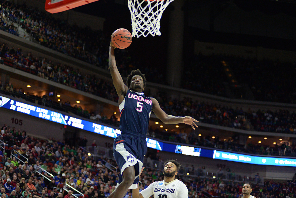 Sophomore forward Daniel Hamilton rises up for a dunk during UConn's 74-67 victory over Colorado in the first round of the NCAA tournament on Thursday March 17, 2016. News broke on Thursday March 24, 2016 that Hamilton has declared for the NBA Draft. (Ashley Maher/The Daily Campus)