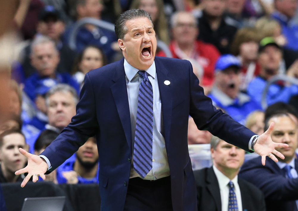 Kentucky coach John Calipari disagrees with a ruling by the referee during a second-round men's college basketball game against Indiana in the NCAA Tournament in Des Moines, Iowa, Saturday, March 19, 2016. (AP Photo/Nati Harnik)