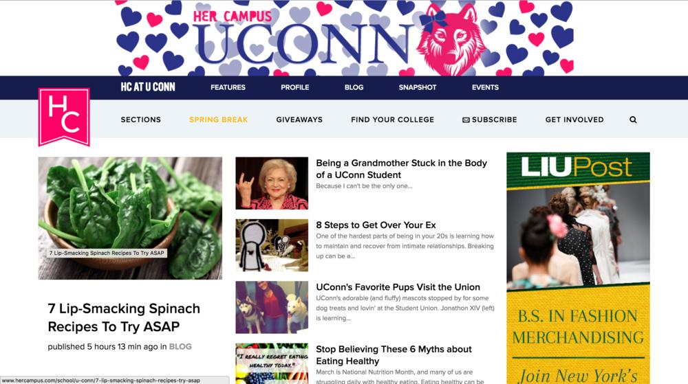 A screenshot of the Her Campus UConn website. (Screenshot)