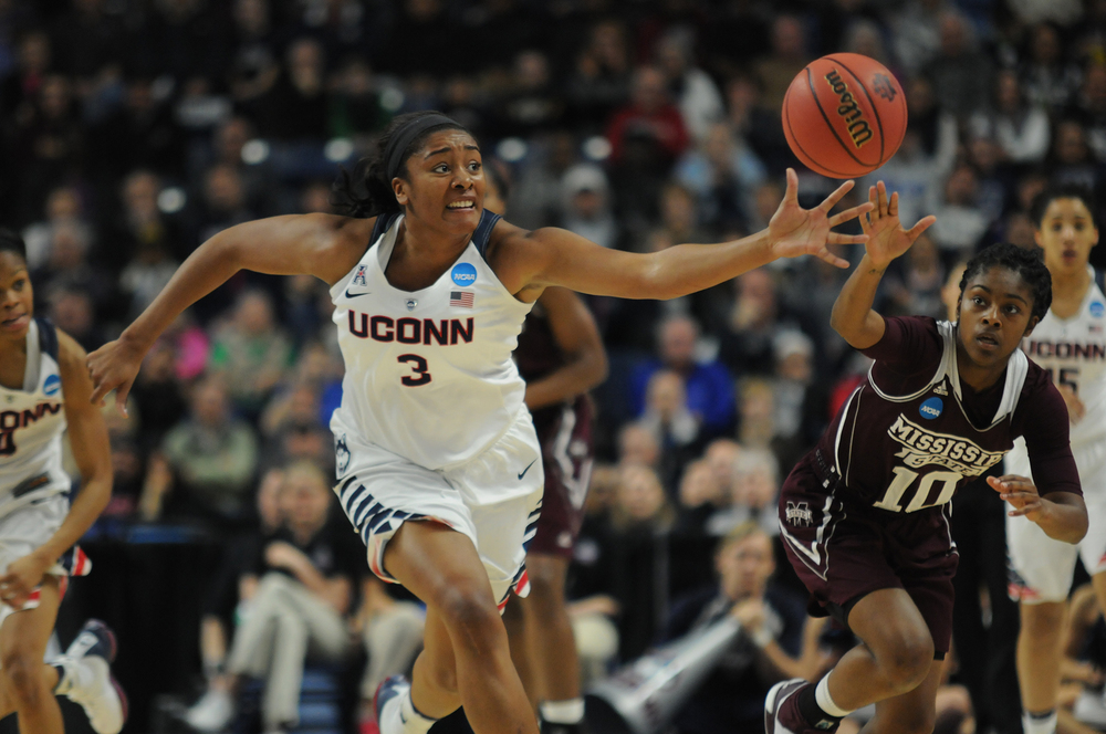 UConn women's basketball forward Morgan Tuck fights for a loose ball during the Huskies' NCAA tournament game against No. 5 Mississippi State at Webster Bank Arena in Bridgeport, Connecticut on Saturday, March 26, 2016. (Bailey Wright/The Daily Campus)