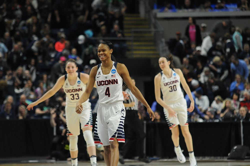 Moriah Jefferson (#4) smiles during UConn's 98-38 victory over Mississippi State in the Sweet 16 of the NCAA tournament at the Webster Bank Arena on Saturday March 25, 2016. (Bailey Wright/The Daily Campus)