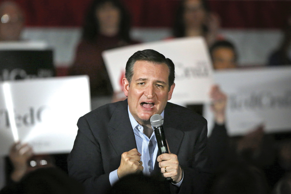 This March 24, 2016, file photo shows Republican Presidential candidate U.S. Senator Ted Cruz making a stop at the Armory restaurant in downtown Janesville, Wis. Donald Trump is planning Tuesday to make his first campaign visit to Wisconsin, where the upcoming Republican presidential primary could mark a turning point in the unpredictable GOP race. But rival Cruz has gotten a jumpstart on the contest, racking up influential endorsements, campaigning in key regions and supported by bullish advertising campaign. (Anthony Wahl/The Janesville Gazette via AP)