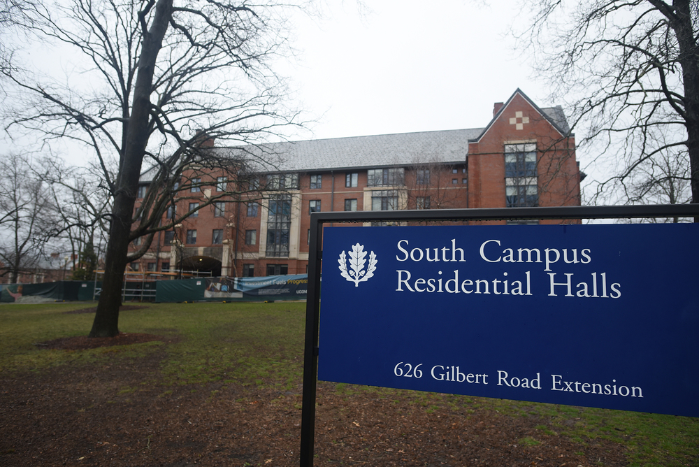 A sign is pictured in front of the South Campus Residential Halls on the UConn campus in Storrs, Connecticut. (Zhelun Lang/The Daily Campus)