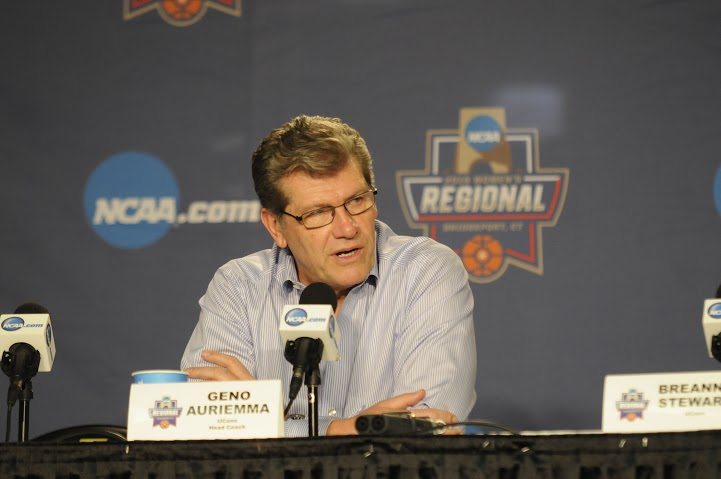 "UConn head coach Geno Auriemma addresses the media following an 86-65 victory over Texas in the Elite Eight on Monday, March 28 at Webster Bank Arena in Bridgeport, Connecticut. Auriemma and his team have been under fire recently after comments from a Boston Globe sports writer claiming that the dominance of the UConn women's basketball team is ""ruining the game"". (Bailey Wright/The Daily Campus)"