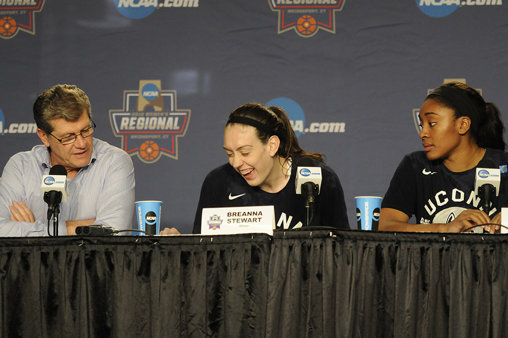 From left, Geno Auriemma, Breanna Stewart and Morgan Tuck address the media following UConn's Elite Eight victory. (Bailey Wright/The Daily Campus)
