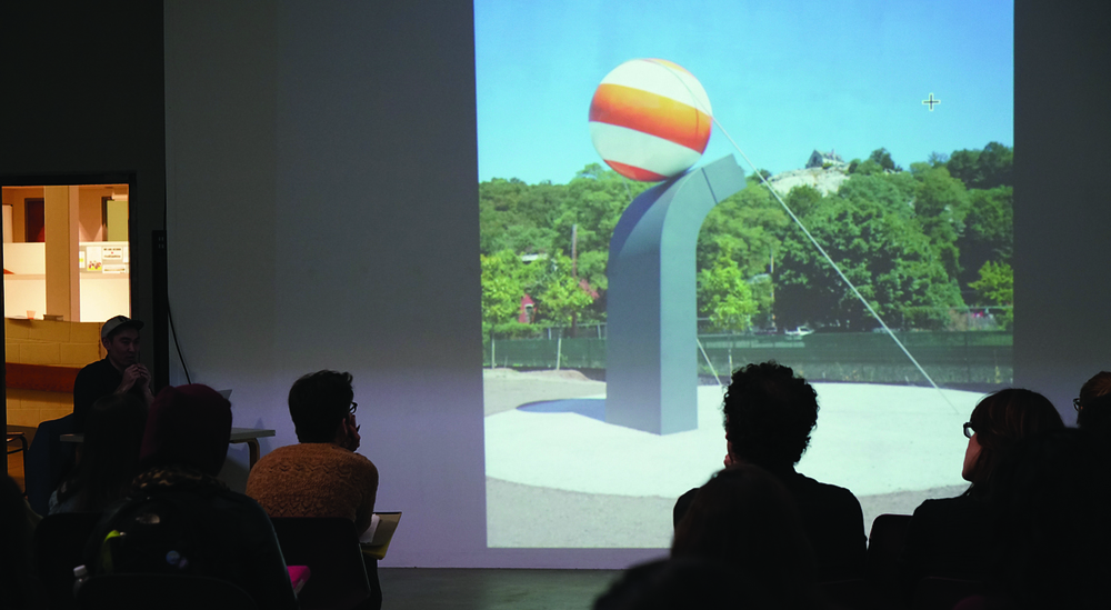 Jong Oh lectures about his work at the Contemporary Art Galleries in the Art building on Tuesday, March 29, 2016 (Erming Gao/Daily Campus)
