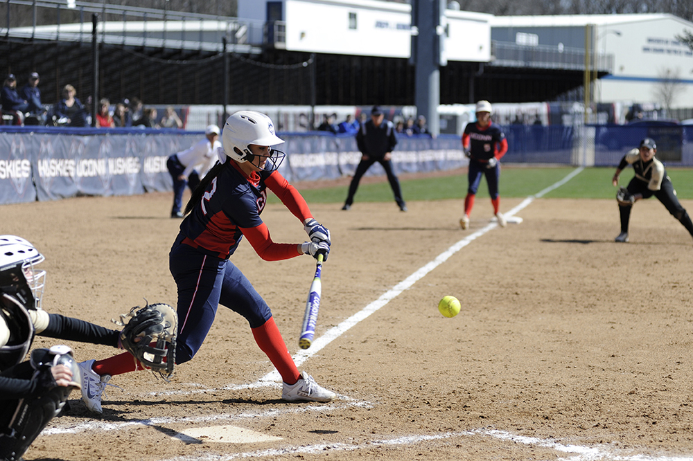 Alyssa Gardea takes a swing during UConn's victory over Bryant at the Burrill Family Field on Wednesday March 30, 2016. Gardea has started all 33 games this season. (Jason Jiang/The Daily Campus)