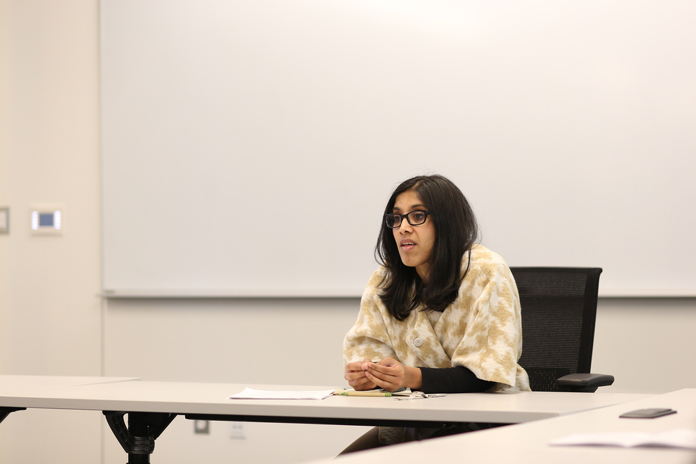 Sonali Chakravarti, an associate professor of government and politics at Wesleyan University, speaks during her lecture on jury nullification in Oak Hall on the UConn campus in Storrs, Connecticut on Monday, April 4, 2016. (Jackson Haigis/The Daily Campus)