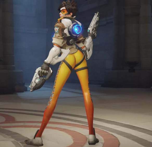 "This pose, struck by character Tracer in Blizzard's ""Overwatch"" video game, was called out by fans as being ""over sexualized"" and will now be removed. (Courtesy/Polygon)"