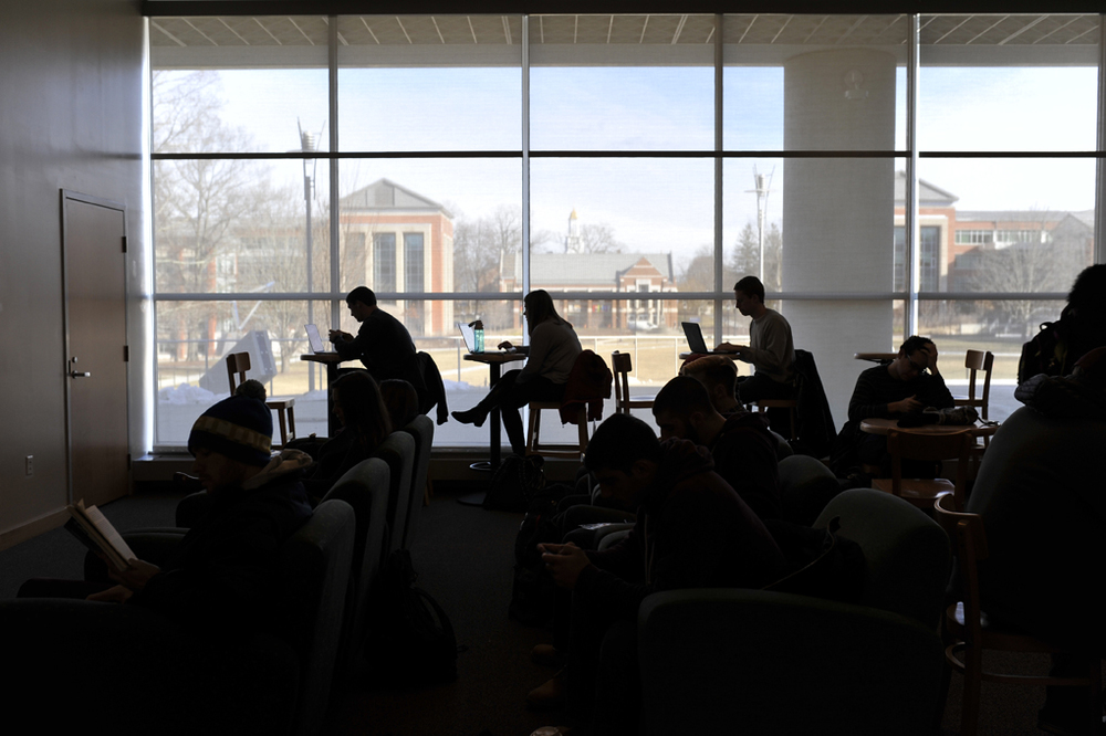 Students study in a commuter lounge of the Student Union, the top recommendation for study spaces beyond Homer Babbidge Library. (Jason Jiang/Daily Campus)