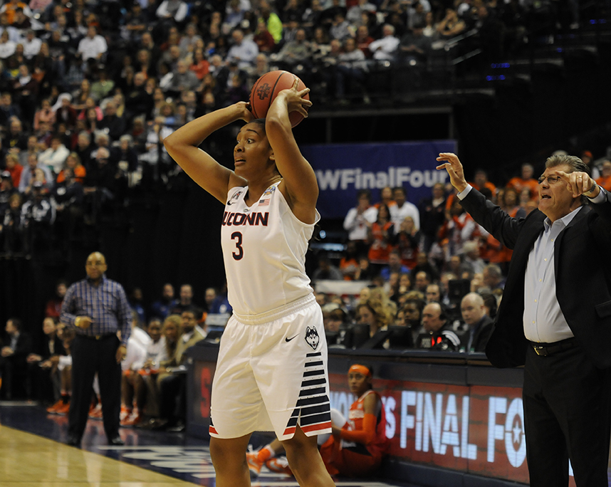 Morgan Tuck looks to make a pass during UConn's 82-51 victory over Syracuse in the national championship at Bankers Life Fieldhouse in Indianapolis, Ind. on Tuesday April 5, 2016. Tuck, a redshirt junior, has one day to decide if she will stay at UConn or declare for the WNBA Draft. (Bailey Wright/The Daily Campus)