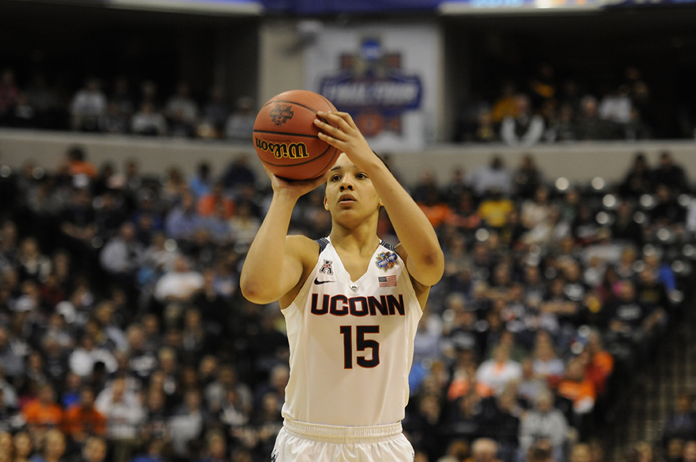 Gabby Williams lines up a free throw attempt in the first half of UConn's 82-51 victory over Syracuse in the national championship game at Bankers Life Fieldhouse on Tuesday April 5, 2016. Williams, a sophomore, will return to UConn next season. (Bailey Wright/The Daily Campus)