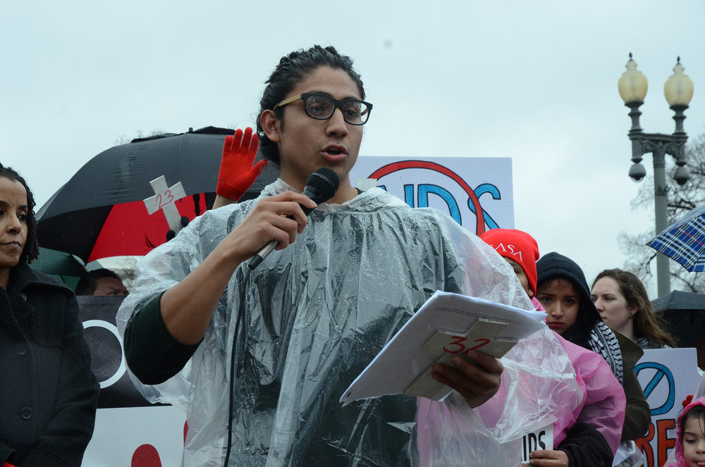 UConn student Eric Cruz López protests in Washington D.C. in February with members of United We Dream against the Department of Homeland Security's raids targeting undocumented immigrants and refugees from Central America and Mexico. (Courtesy/Eric Cruz López)