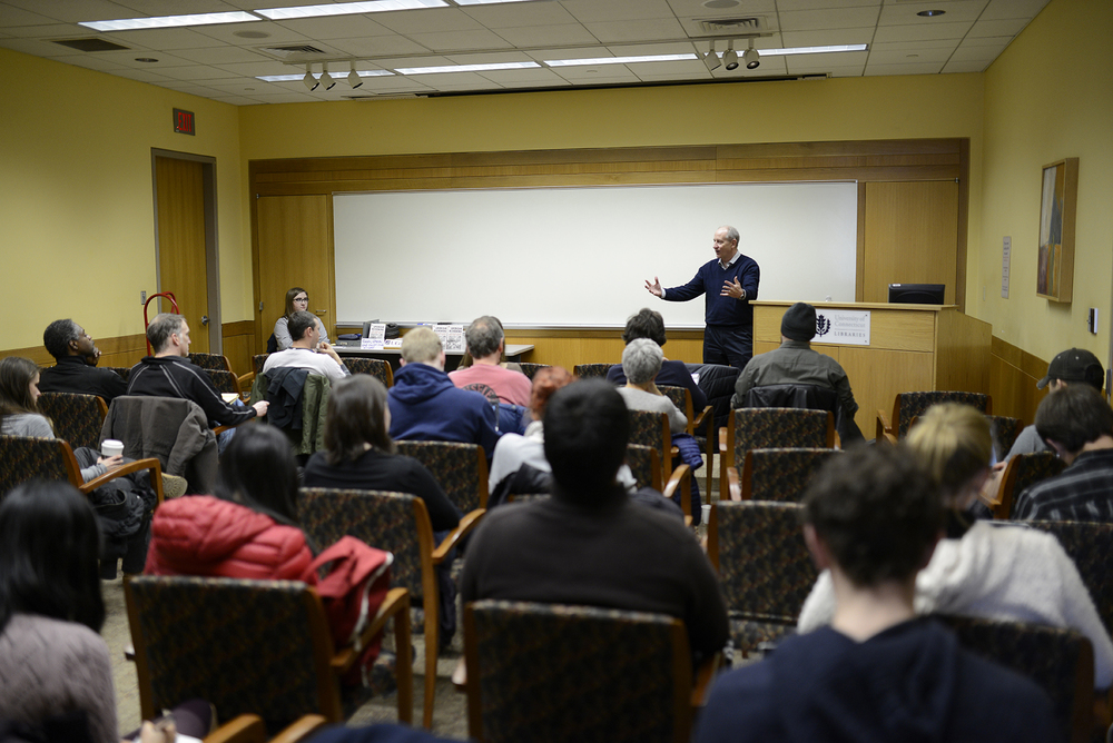 "Professor Christian Appy of UMass Amherst gives a lecture on ""why the Vietnam war still matters.""  in 1974 Conference Room on April 6, 2016. (Jason Jiang/The Daily Campus)"