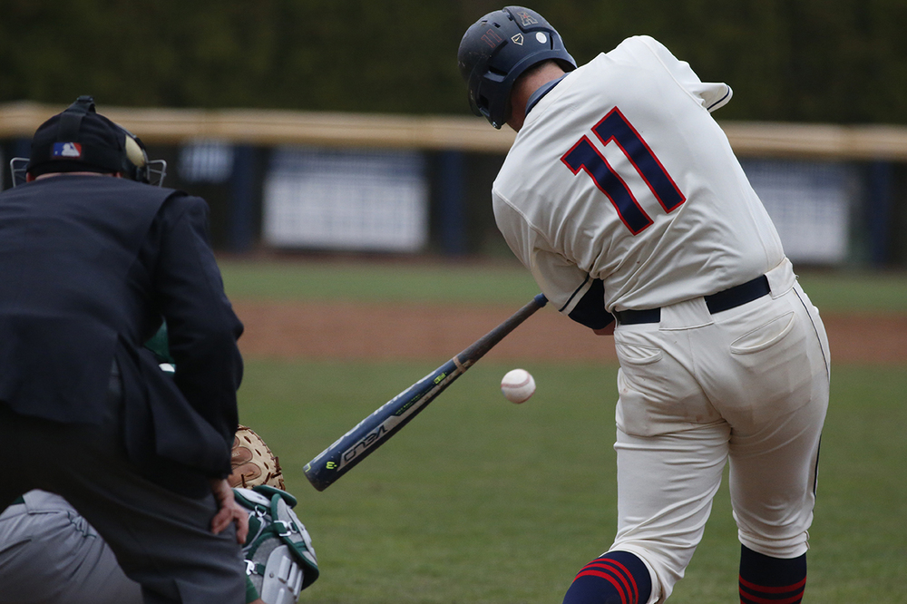 Bobby Melley takes a swing during UConn's 14-5 loss to Tulane at J.O. Christian Field on April 2, 2016. The senior first basemen is hitting .273 with 4 home runs on the year. (Tyler Benton/The Daily Campus)