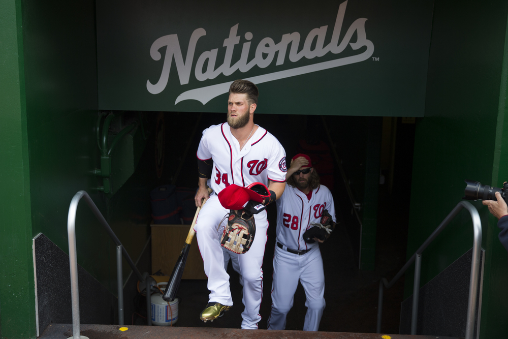 Washington Nationals right fielder Bryce Harper arrives for a home opener baseball game against the Miami Marlins at Nationals Park, on Thursday, April 7, 2016, in Washington. (AP Photo/Evan Vucci)