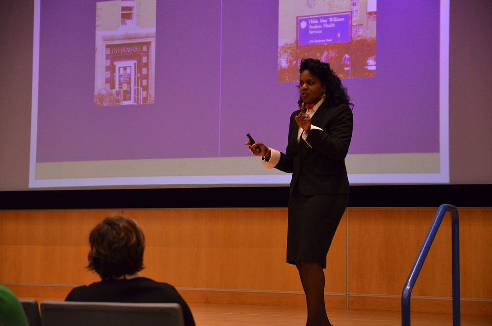 Renée Coleman Mitchell, a candidate to be the next executive director of UConn's Student Health Services, speaks during her presentation in the UConn Student Union Theater in Storrs, Connecticut on Thursday, April 7, 2016. (Rebecca Newman/The Daily Campus)
