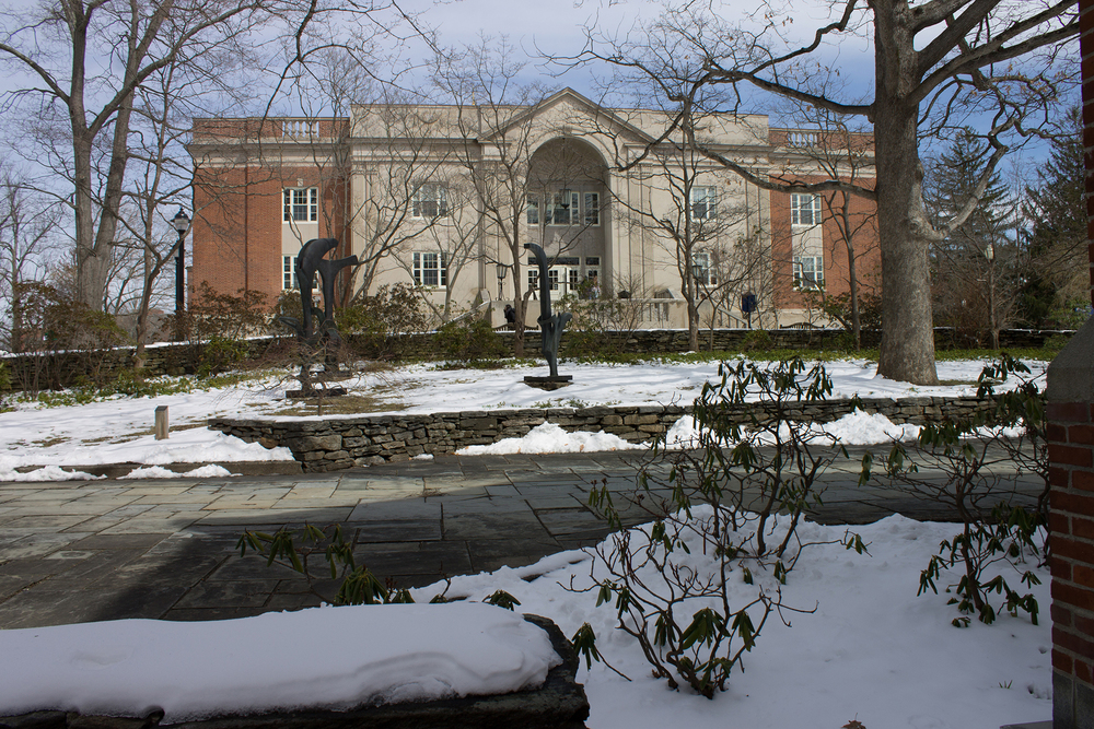 In this file photo, the courtyard area is pictured behind the William Benton Museum of Art, looking toward the rear entrance of the Wilbur Cross Building on the UConn campus in Storrs, Connecticut. (Evenlyn Fenick/The Daily Campus)