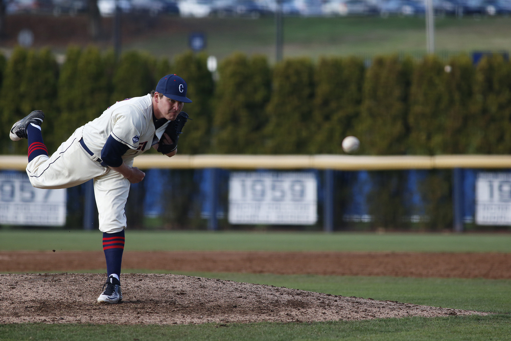 UConn baseball redshirt freshman pitcher Tyler Holmes delivers a pitch during the Huskies' game against Tulane at J.O. Christian Field in Storrs, Connecticut on Saturday, April 2, 2016. (Tyler Benton/The Daily Campus)