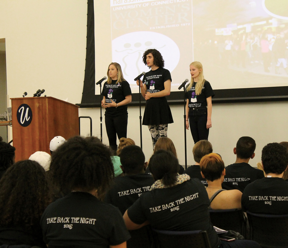 At the Take Back the Night event in 2015, students of the Violence Against Women Prevention Program organization share their stories and spoken word poetry. On Monday afternoon, UConn sent an email with survey results on sexual assaults on each of the university's campuses. (File Photo)