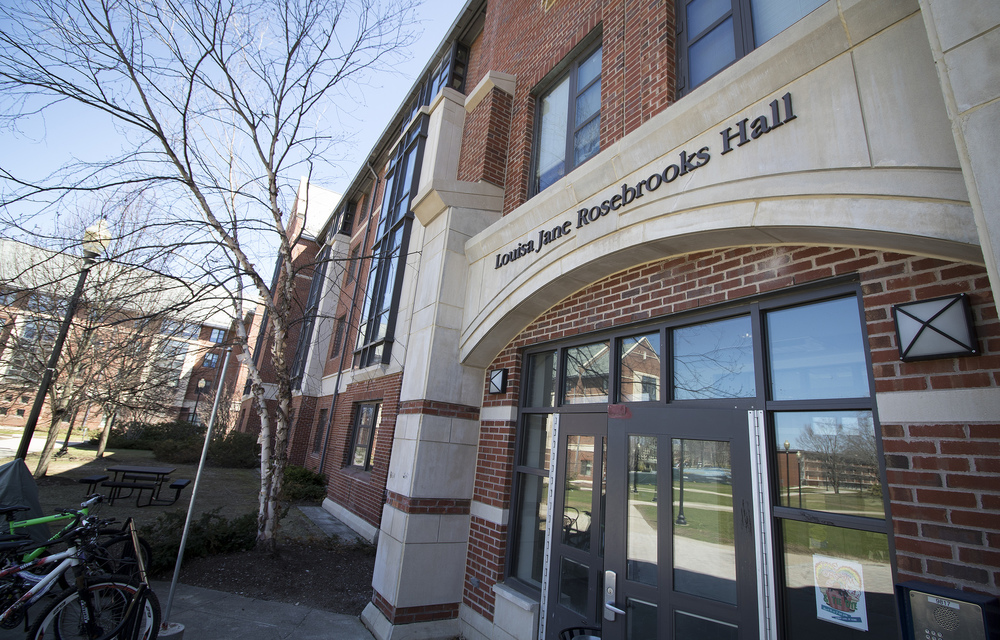 The Louisa J. Rosebrooks Residence Hall in UConn's South Campus residence area in Storrs, Connecticut. (Jackson Mitchell/The Daily Campus)