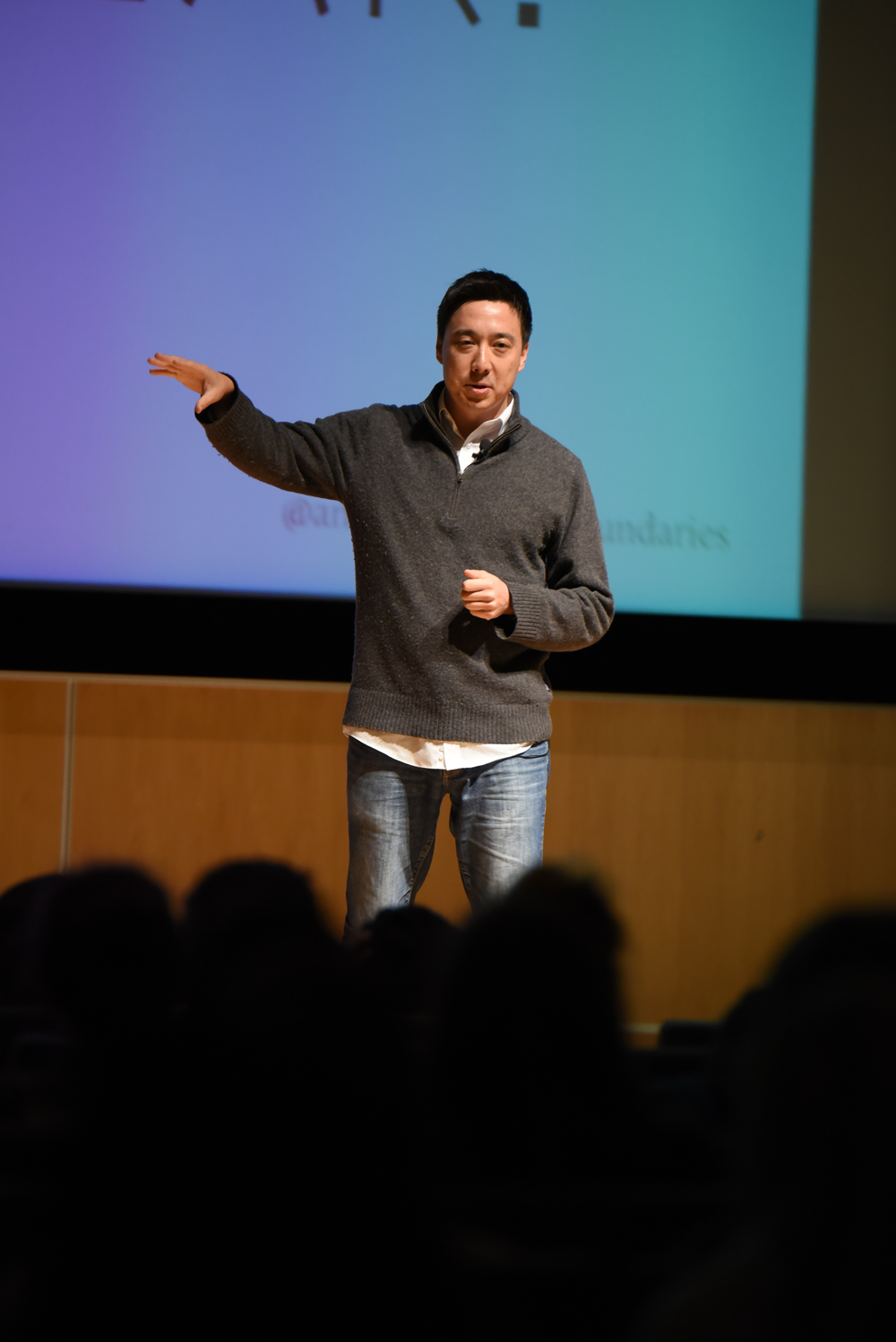 Traveler Andy Stoll speaks during his lecture in the UConn Student Union Theater in Storrs, Connecticut on Monday, April 11, 2016. (Allen Lang/The Daily Campus)
