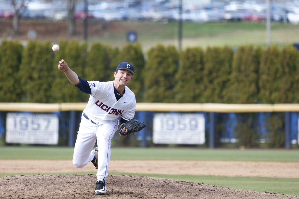Freshman Ronnie Rossomando delivers a pitch during UConn's 2-1 victory over Fairfield at J.O. Christian Field on Tuesday April 12, 2016. Rossomando went 7.0 innings, allowing just 5 hits and 1 run. He struck out 4. (Tyler Benton/The Daily Campus)