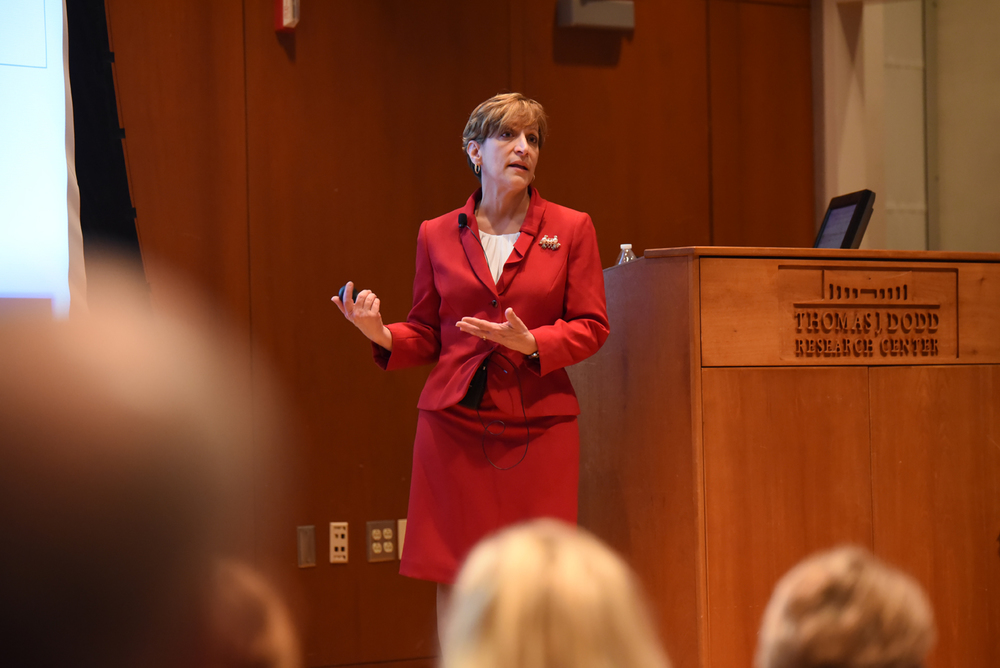 "Executive Director of Student Health Services candidate Suzanne Onorato conducted a presentation about her ""vision of an integrated and holistic model of health"" at the University of Connecticut on Tuesday morning. (Zhelun Lang/Daily Campus)"