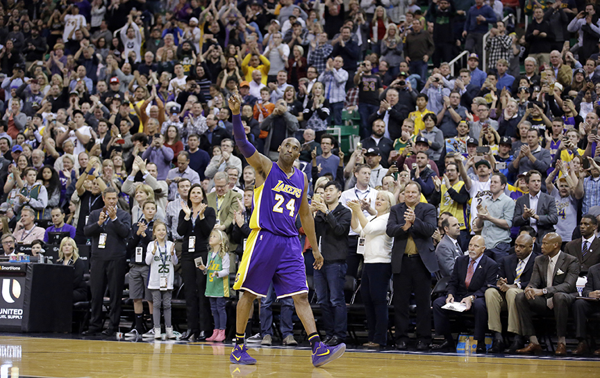 Los Angeles Lakers forward Kobe Bryant (24) waves as he walks off the court during the second half of an NBA basketball game, Monday, March 28, 2016, in Salt Lake City. The Jazz won 123-75. (AP Photo/Rick Bowmer)