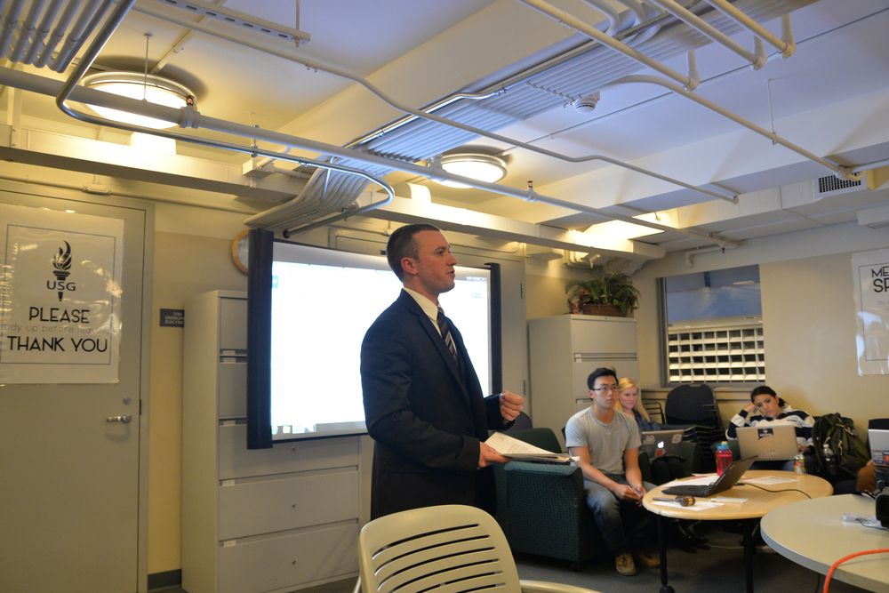 The Undergraduate Student Government USG passed legislature to add an ex-officio veteran member to the senate for representatives of the veteran and military-dependent population at the University of Connecticut. Commuter Senator Sam Serowitz speaks about the bill. (Amar Batra/Daily Campus)