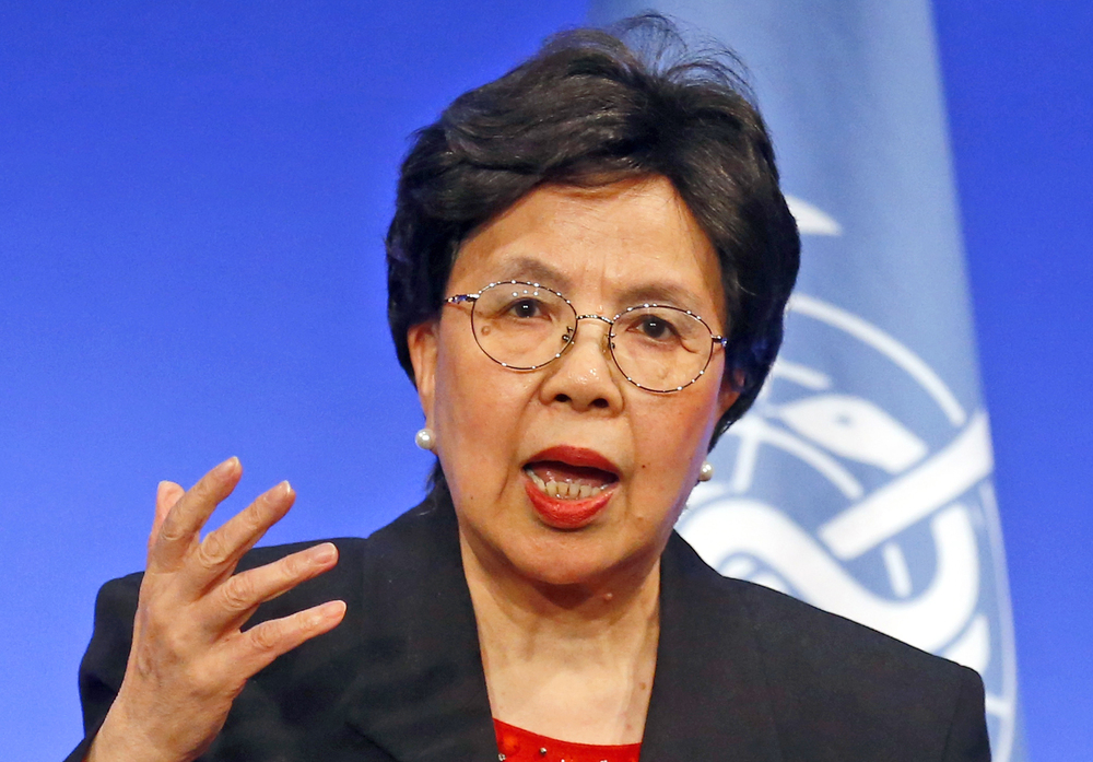 World Health Organization Director-General Margaret Chan delivers a speech on Wednesday, March 23, 2016, in Lyon, France. Chan said Wednesday April 6, 2016, that excessive weight, aging and population growth have recently driven a huge increase in worldwide cases of diabetes and called for stepped-up measures to reduce risk factors as well as improve treatment and care. (AP Photo/Francois Mori)