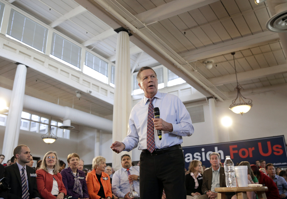 Republican presidential candidate, Ohio Gov. John Kasich speaks during a town hall at Savage Mill in Savage, Md., Wednesday, April 13, 2016. (AP Photo/Patrick Semansky)