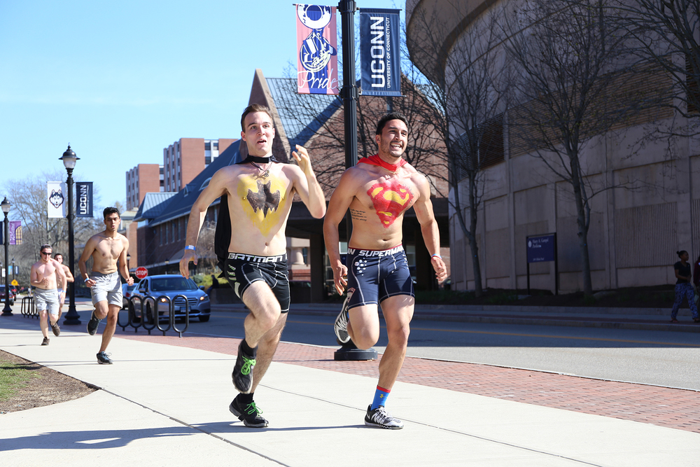 Students run down Fairfield Way during the 4th annual Underwear Mile event held on the UConn campus in Storrs, Connecticut on Sunday, April 17, 2016. (Jackson Haigis/The Daily Campus)