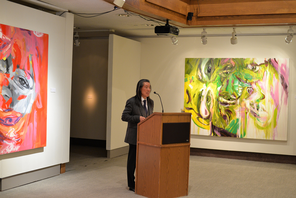 "Stephen Chan, an international relations professor at the University of London, delivers the keynote address during an event related to the Benton Museum of Art ehxibit ""Bodies Living with Violence"" in Storrs, Connecticut on Friday, April 15, 2016. (Amar Batra/The Daily Campus)"