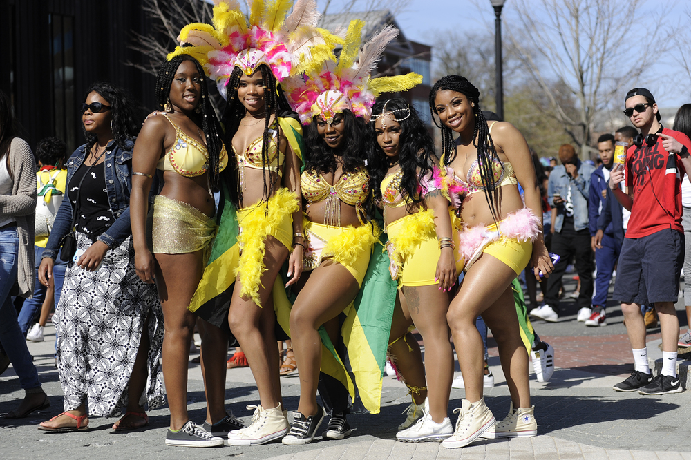 Students pose on Fairfield Way during the Bacchanal Bashment, an event celebrating West Indian culture, held at the UConn campus in Storrs, Connecticut on Saturday, April 16, 2016. (Jason Jiang/The Daily Campus)