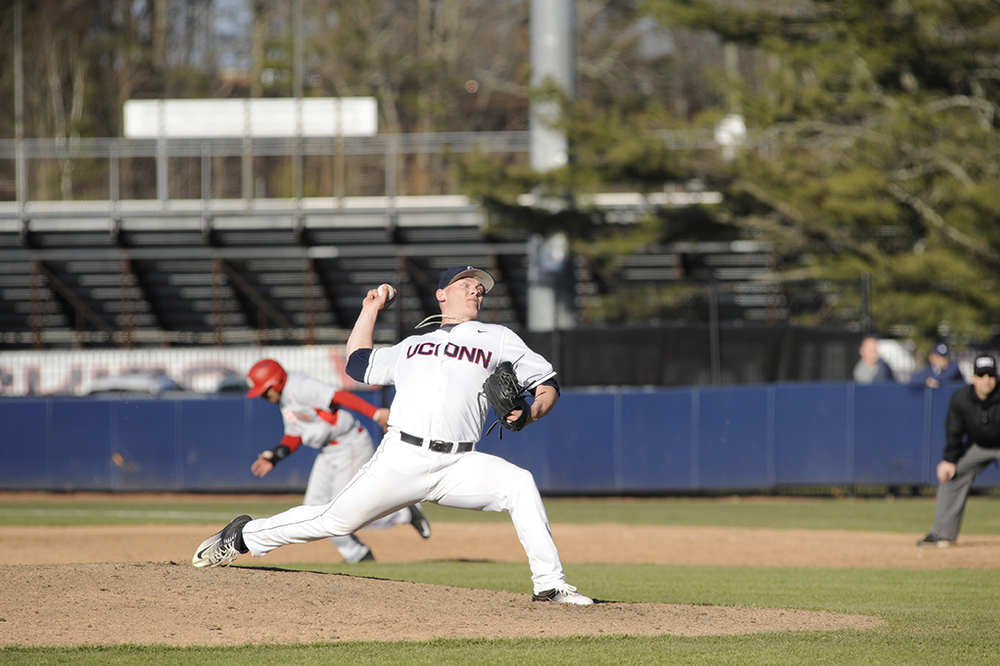 Patrick Ruotolo delivers a pitch during UConn's victory over Houston at J.O. Christian Field over the weekend. Ruotolo is sporting a 1.98 ERA on the year. (Jason Jiang/The Daily Campus)