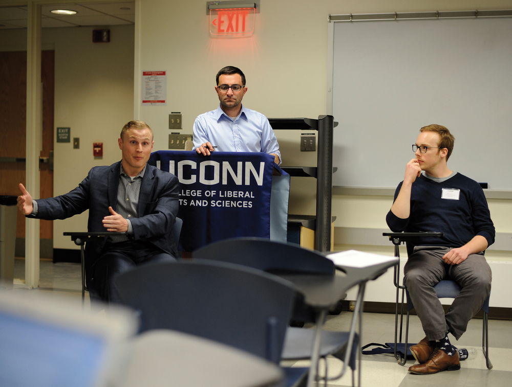 Communication alumnus take about their career path after they graduated from UConn in a Communication Alumni Career Panel on Tuesday, April 19, 2016 in the Philips E. Austin Building room 434. (Jason Jiang/Daily Campus)