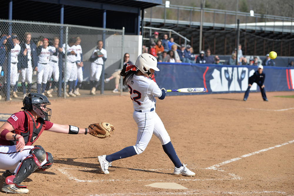 Alyssa Gardea takes a swing during UConn's 7-4 loss to UMass at the Burrill Family Field on Tuesday April 19, 2016. (Amar Batra/The Daily Campus)