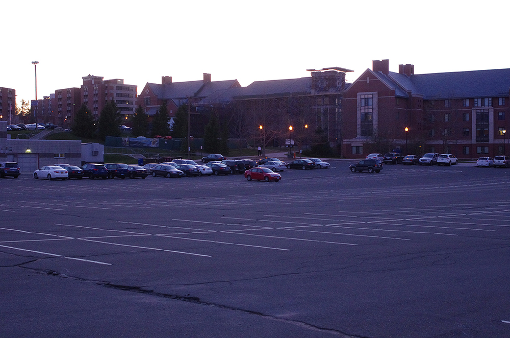 S-Lot, located behind South Campus dormitories and next to UConn's Fine Arts complex will be affected by construction this summer, UConn spokeswoman Stephanie Reitz said. (William Chan/Daily Campus)