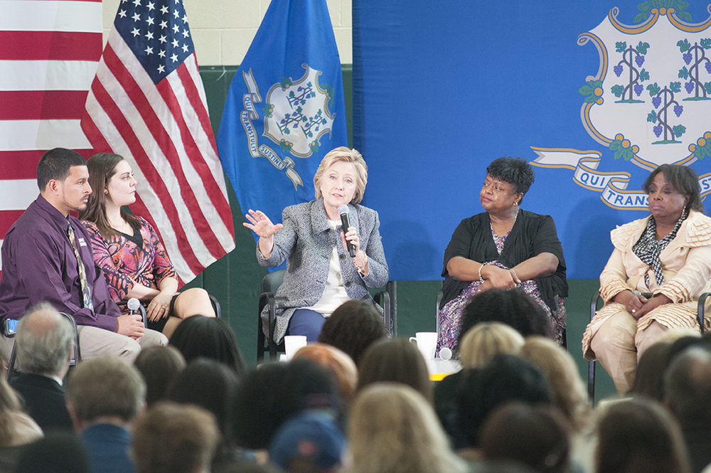 """We need a national movement,"" Clinton told the crowd of more than 300 gathered in the Wilson-Gray YMCA in Hartford. (Kyle Constable/Daily Campus)"
