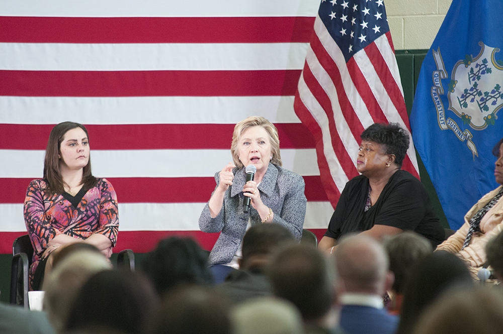 Gun violence kills 33,000 people each year, Clinton said in her introduction to the campaign-sponsored forum at the Wilson-Gray YMCA in Hartford, so gaining consensus on the problem should be easier than it is. (Kyle Constable/Daily Campus)
