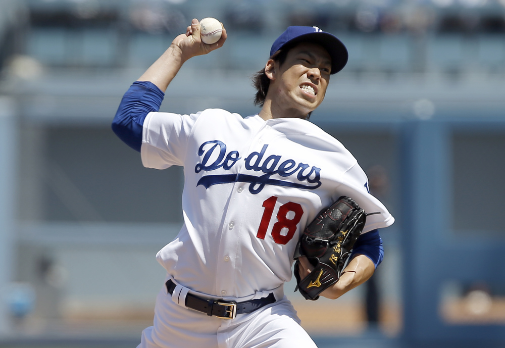 Los Angeles Dodgers starting pitcher Kenta Maeda throws to the plate against the Arizona Diamondbacks during the first inning of a baseball game in Los Angeles, Tuesday, April 12, 2016. (AP Photo/Alex Gallardo)