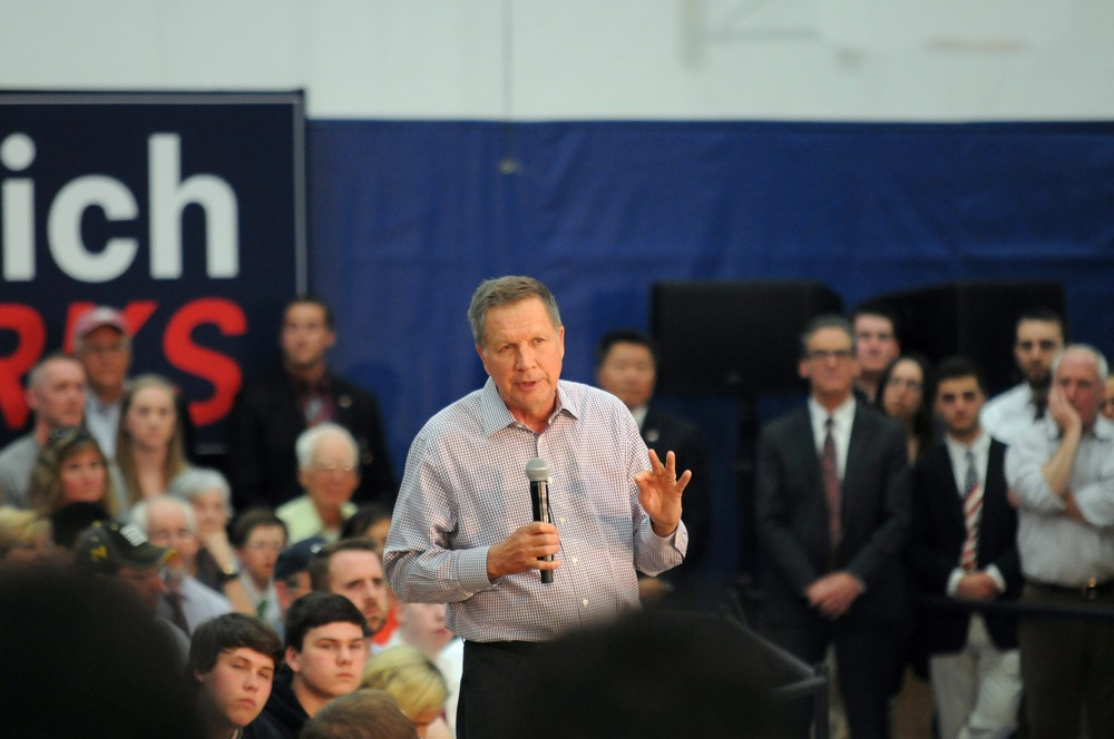 Republican presidential candidate John Kasich brought his message of optimism to a standing room-only crowd at Glastonbury High School on Friday, April 22, 2016.   (Kyle Constable/The Daily Campus)