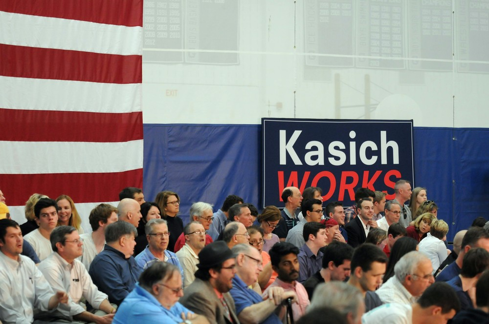 Supporters of Republican presidential candidate John Kasich wait in their seats for the Ohio governor's arrival at Glastonbury High School on Friday, April 22, 2016.   (Kyle Constable/The Daily Campus)