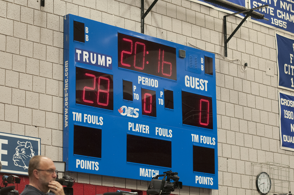 The scoreboard in Crosby High School's gymnasium was modified before Republican presidential candidate Donald Trump's rally in Waterbury on Saturday, April 23, 2016. The 28 points reflects the 28 delegates up for grabs in Connecticut in Tuesday's primary.