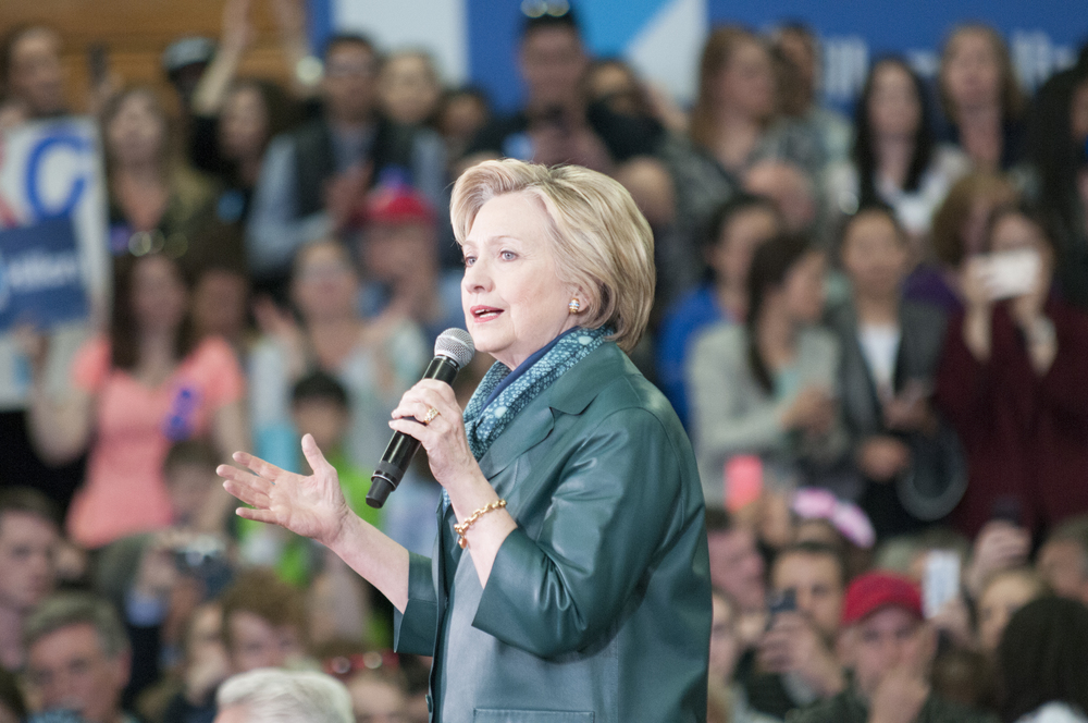 Democratic presidential candidate Hillary Clinton spoke to a crowd of about 1,200 people during a campaign rally at the University of Bridgeport on Sunday, April 24, 2016. (Kyle Constable/The Daily Campus)