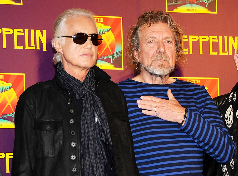 "In this Oct. 9, 2012 file photo, members of Led Zeppelin, guitarist Jimmy Page, left, and singer Robert Plant appear at a press conference ahead of the worldwide theatrical release of ""Celebration Day"", a concert film of their 2007 London O2 arena reunion show, in New York. (Photo by Evan Agostini/Invision/AP, File)"