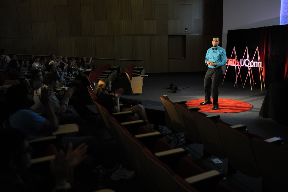 Michael Mallery Jr., a member of UConn's Office of Diversity and Inclusion and founder of I'm So Educated, speaks during a TEDxUConn event in Oak Hall on the UConn campus in Storrs, Connecticut on Sunday, April 24, 2016. (Jason Jiang/The Daily Campus)